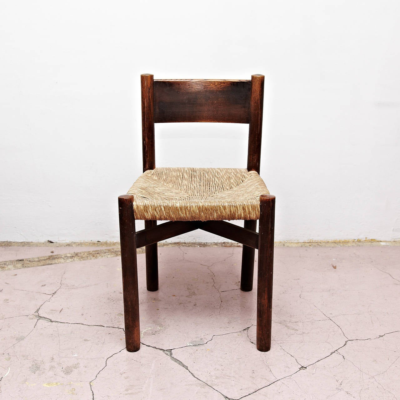 French Set of Five Charlotte Perriand Meribel Chair, circa 1950 For Sale