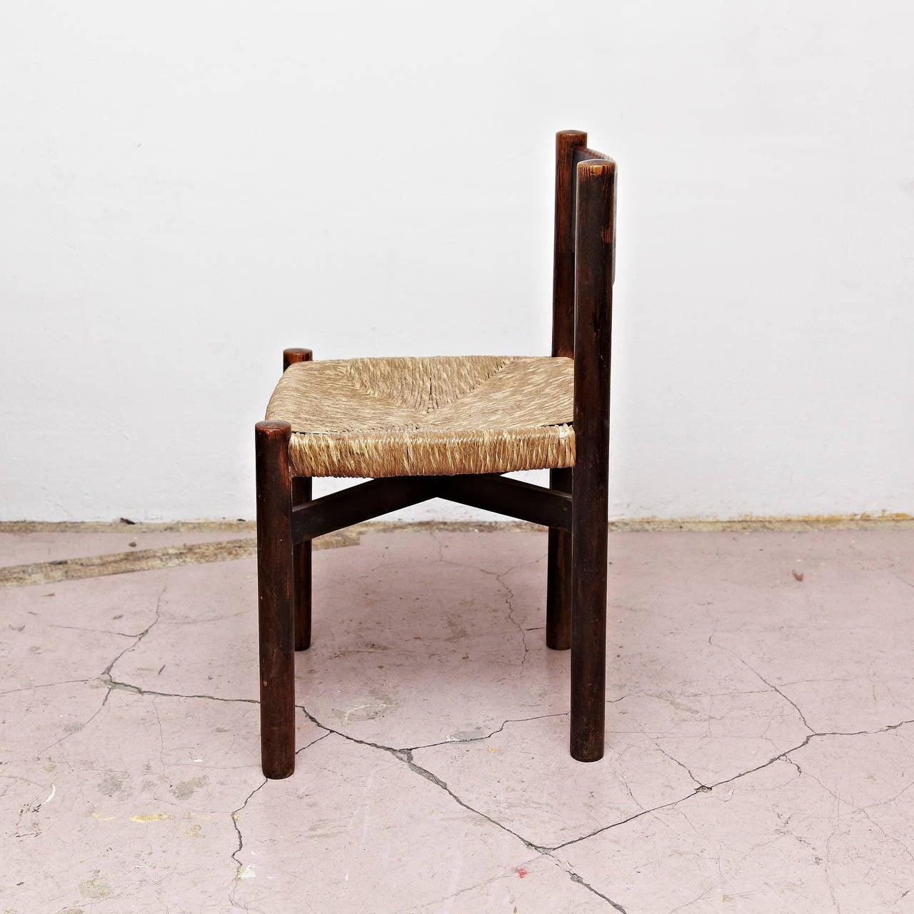 Set of Five Charlotte Perriand Meribel Chair, circa 1950 2