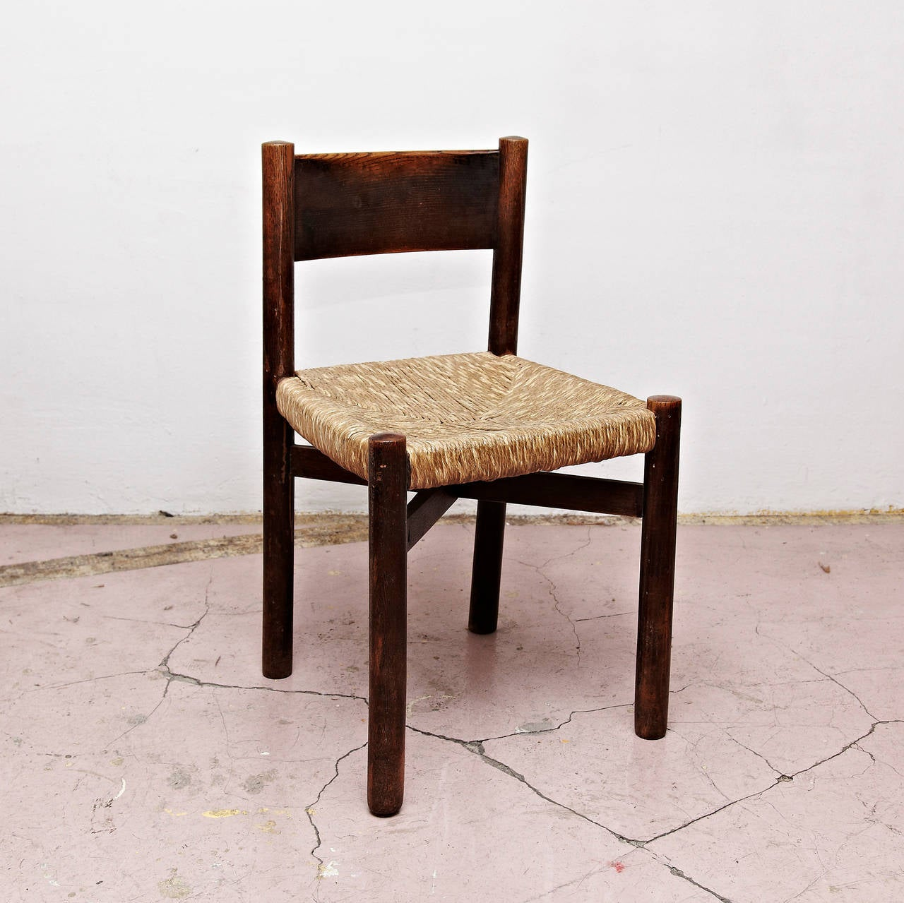 Set of Five Charlotte Perriand Meribel Chair, circa 1950 In Good Condition For Sale In Barcelona, Barcelona
