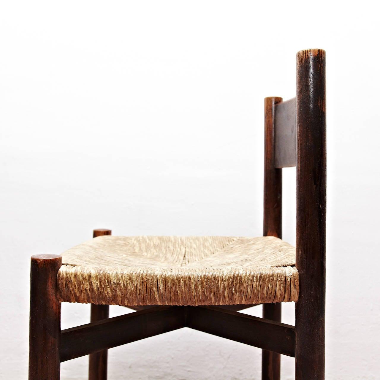 Rush Set of Five Charlotte Perriand Meribel Chair, circa 1950 For Sale