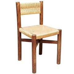 Rare Charlotte Perriand Mid-Century Modern Wood Meribel French Chair, circa 1950