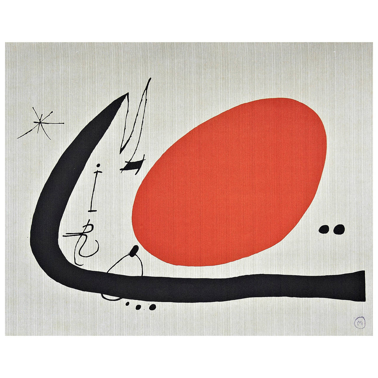 Joan Mir 243 Lithography In Textil Fabric 1970 At 1stdibs