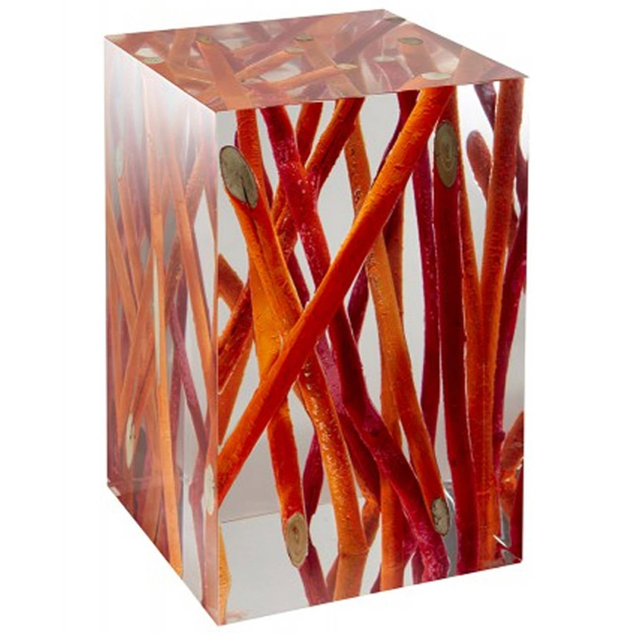 Side Table In Acrylic Glass And Burnt Wood Kisimi Fluo At