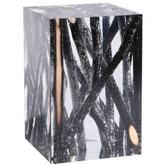 Side Table in Acrylic Glass and Burnt Wood, Kisimi Hekla