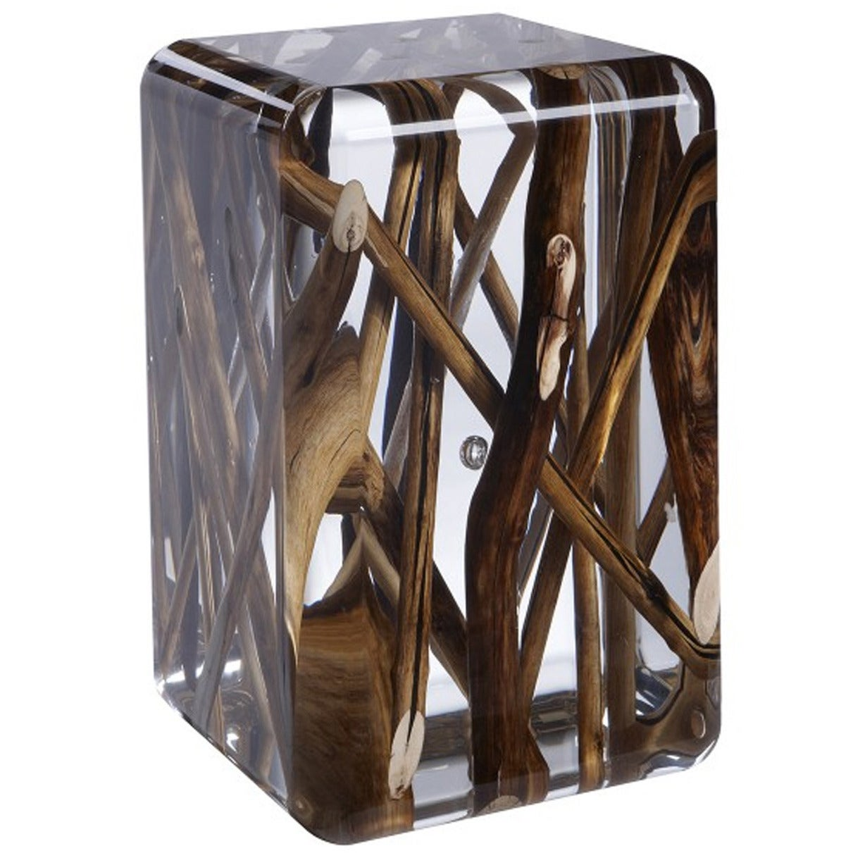 Side Table in Acrylic Glass and Burntwood Kisimi Ice 1