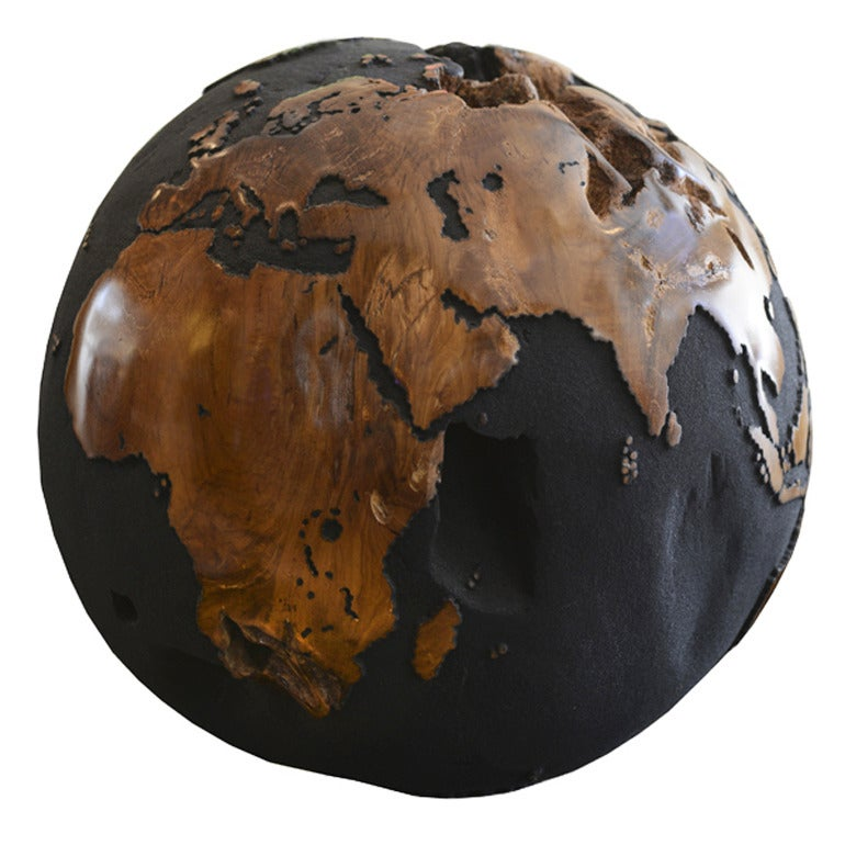 Globe in Teak Root with Black Sand of Volcanic Rock For Sale