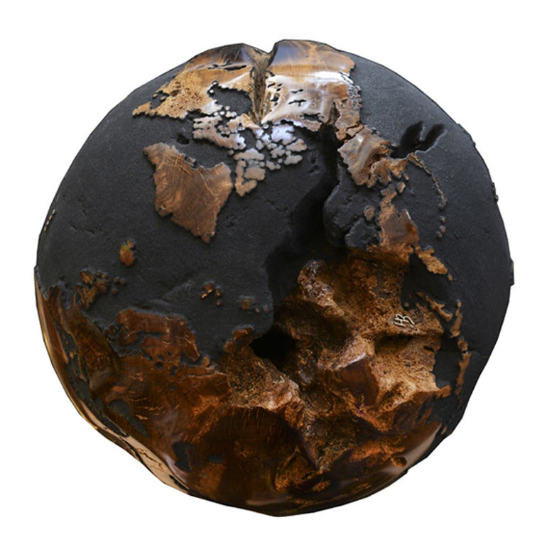 Balinese Globe in Teak Root with Black Sand of Volcanic Rock For Sale
