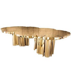 Dining or Conference Table in Polished Brass and Gold Dipped