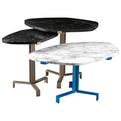 21st Century Side Tables in Aluminium and Marble, Limited Edition of 8