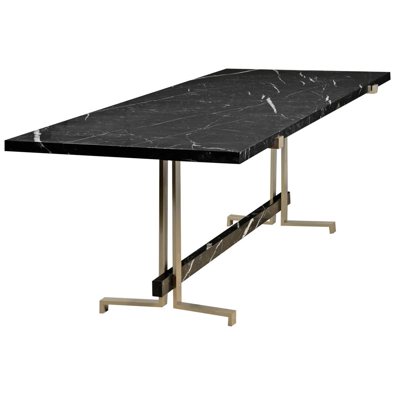 21st century high table in marquina black marble limited for Limited space dining table