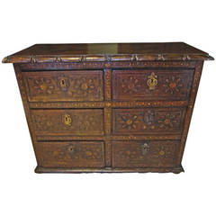 18th Century Mexican Mesquite Sacristy Comode with Inlaid Design, Oaxaca