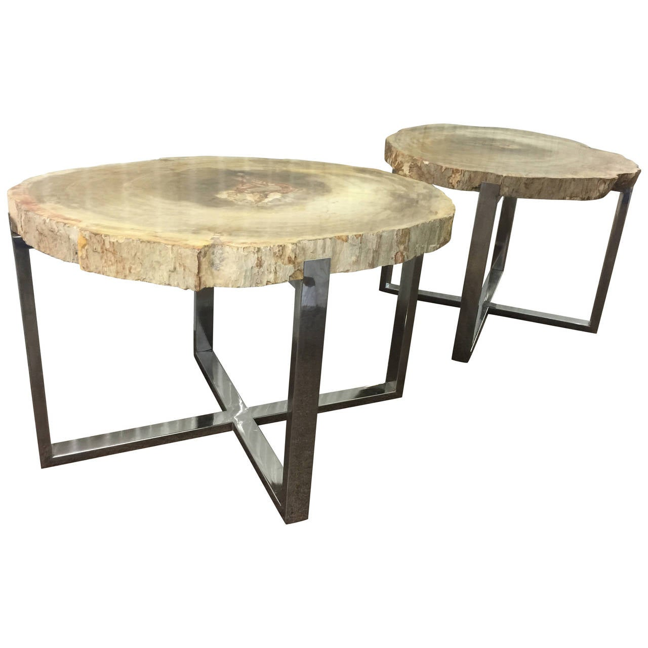 Wonderful image of  Style Pair of Petrified Wood Salmon Colored X Base Tables at 1stdibs with #887243 color and 1280x1280 pixels