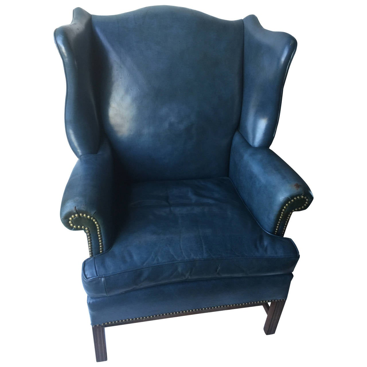 Wing chair with ottoman - Denim Blue Leather Wingback Chair And Ottoman 1