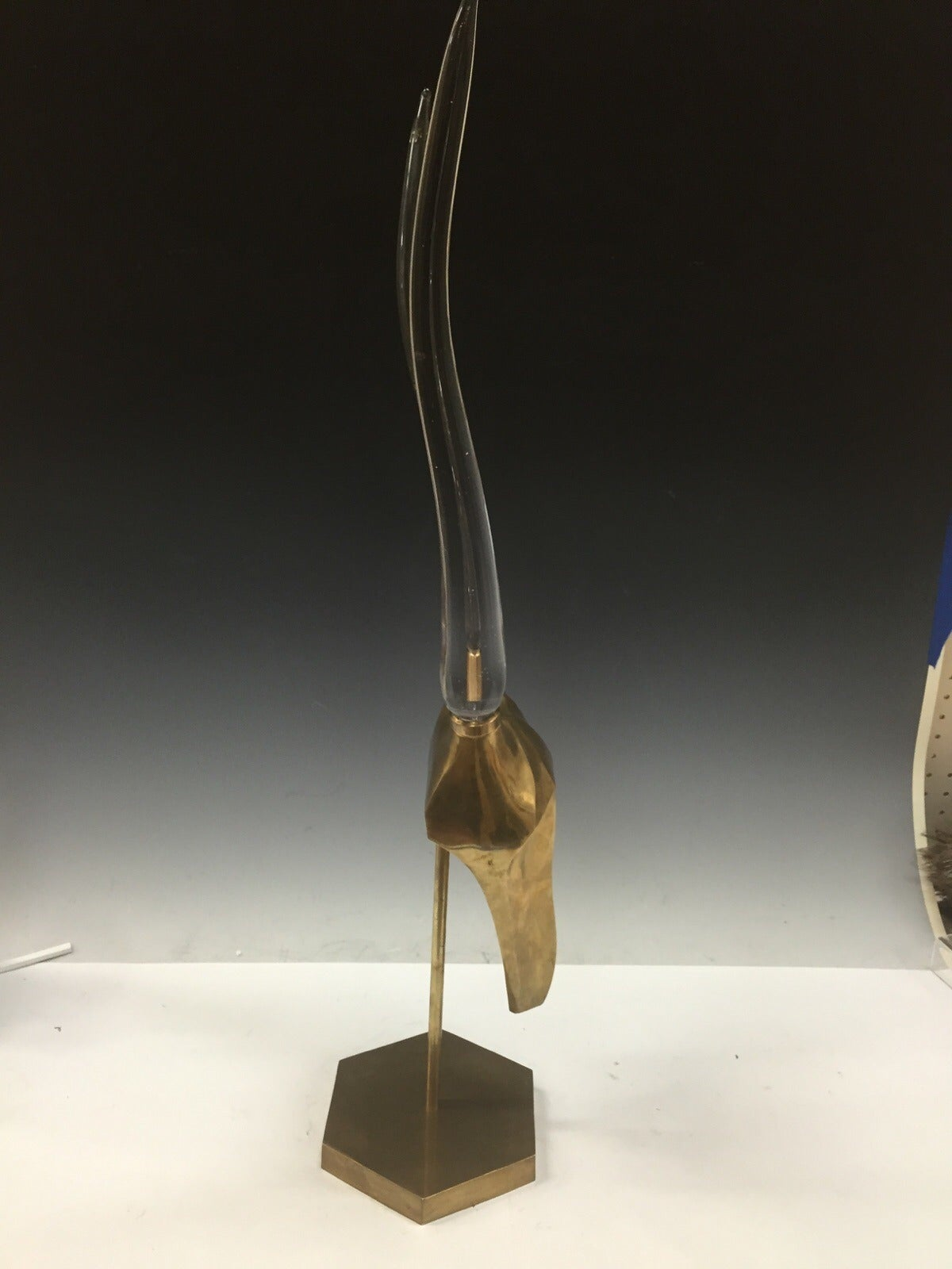 Modernistic brass and glass gazelle head sculpture for