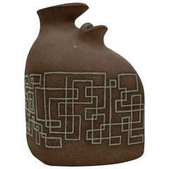 1950s Dual Mouth Ceramic Vessel with Geometric Design