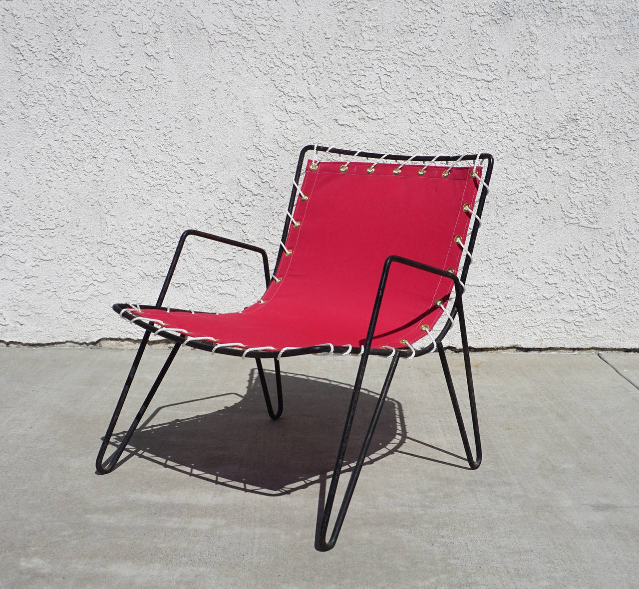 American 1950s Iron And Canvas Outdoor Sling Chairs For