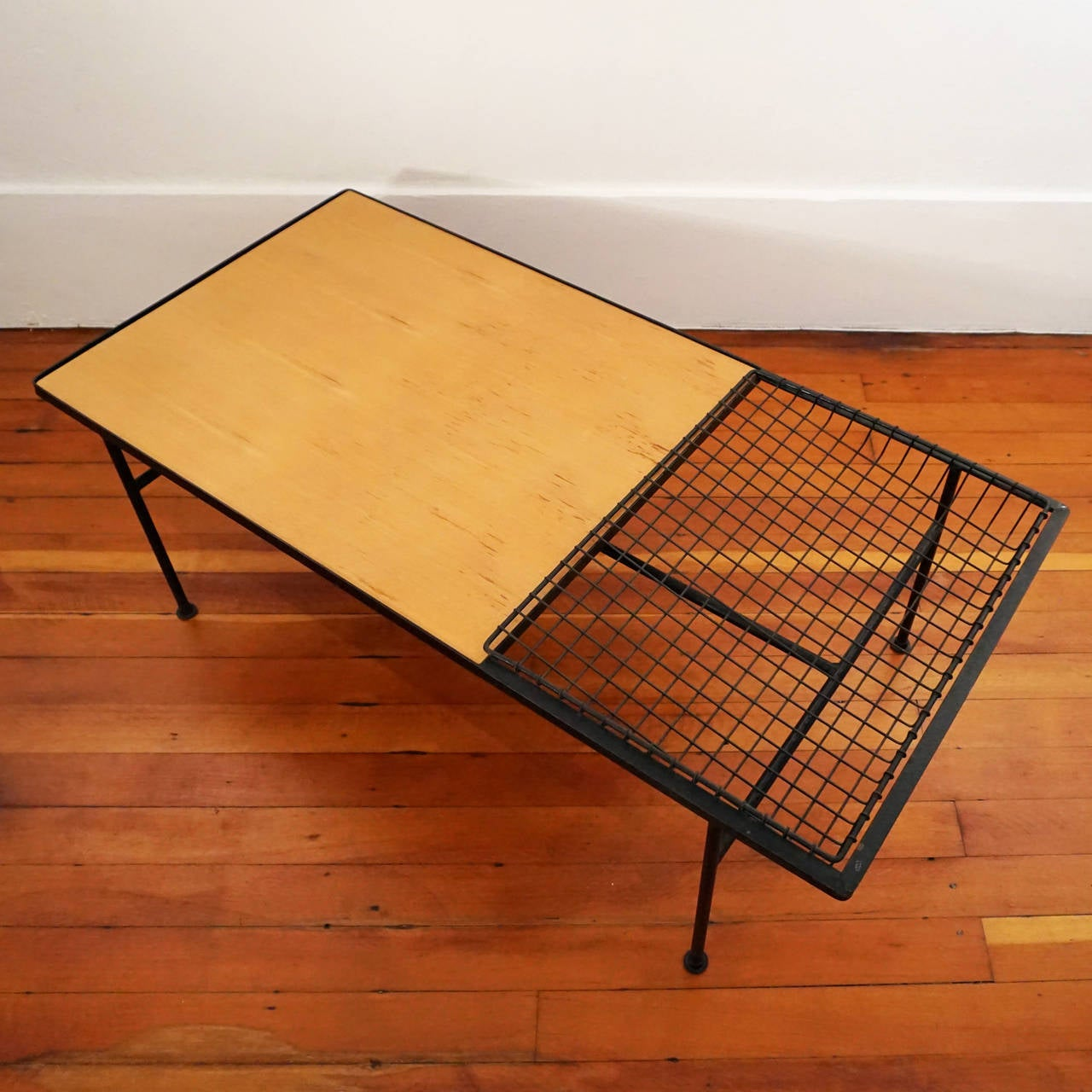 1950s Iron And Wood Coffee Table With Magazine Rack At 1stdibs