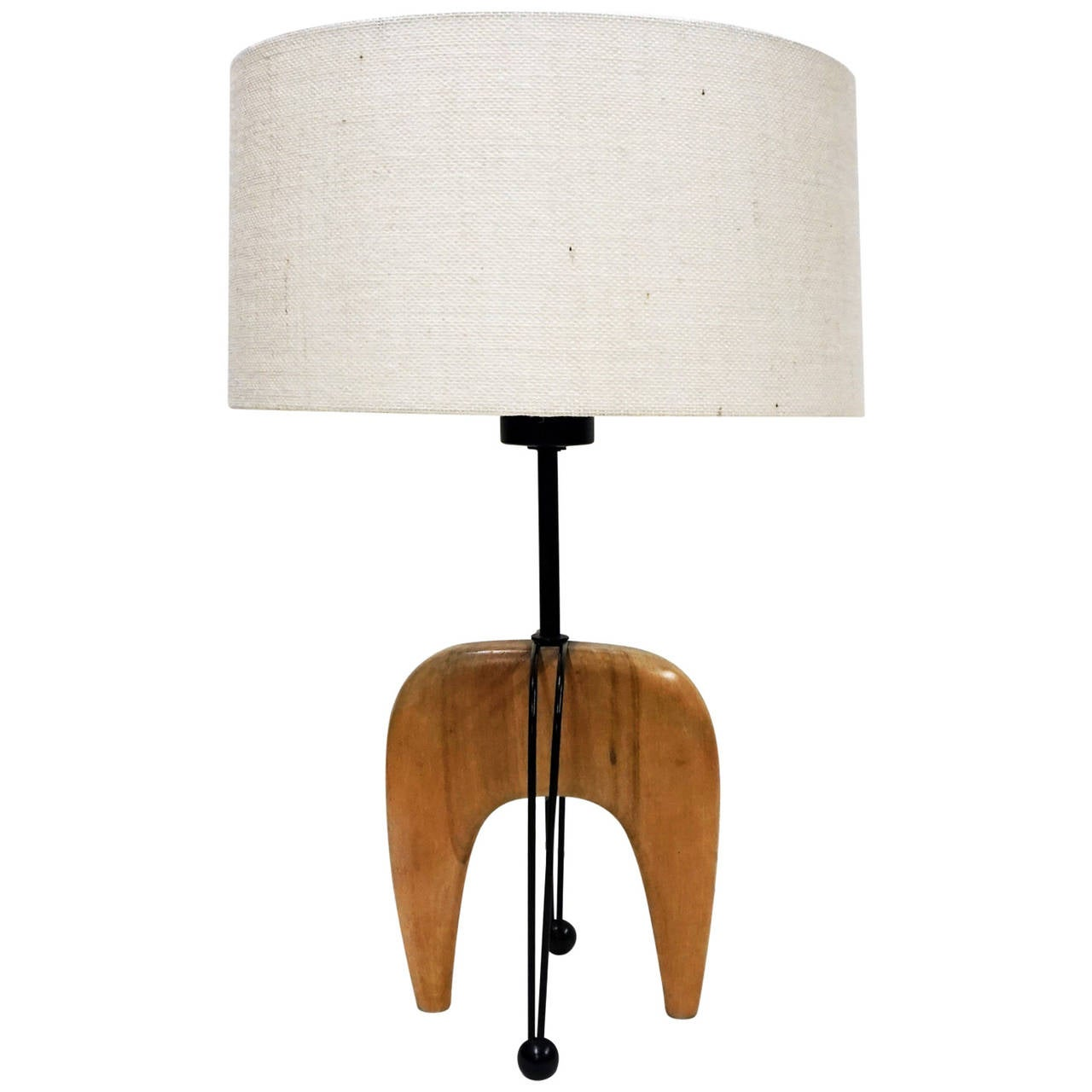Sculptural s modernist wood and iron lamp at stdibs
