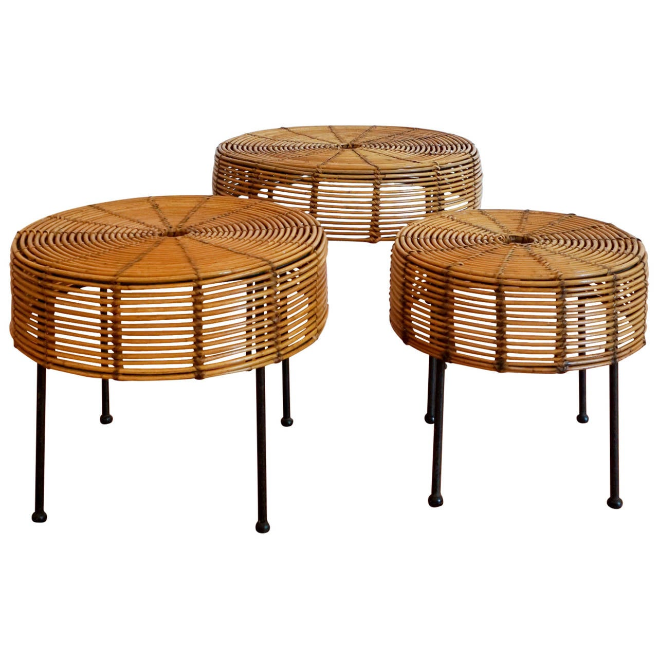 Rattan Nesting Tables ~ John risley wicker and iron nesting tables at stdibs