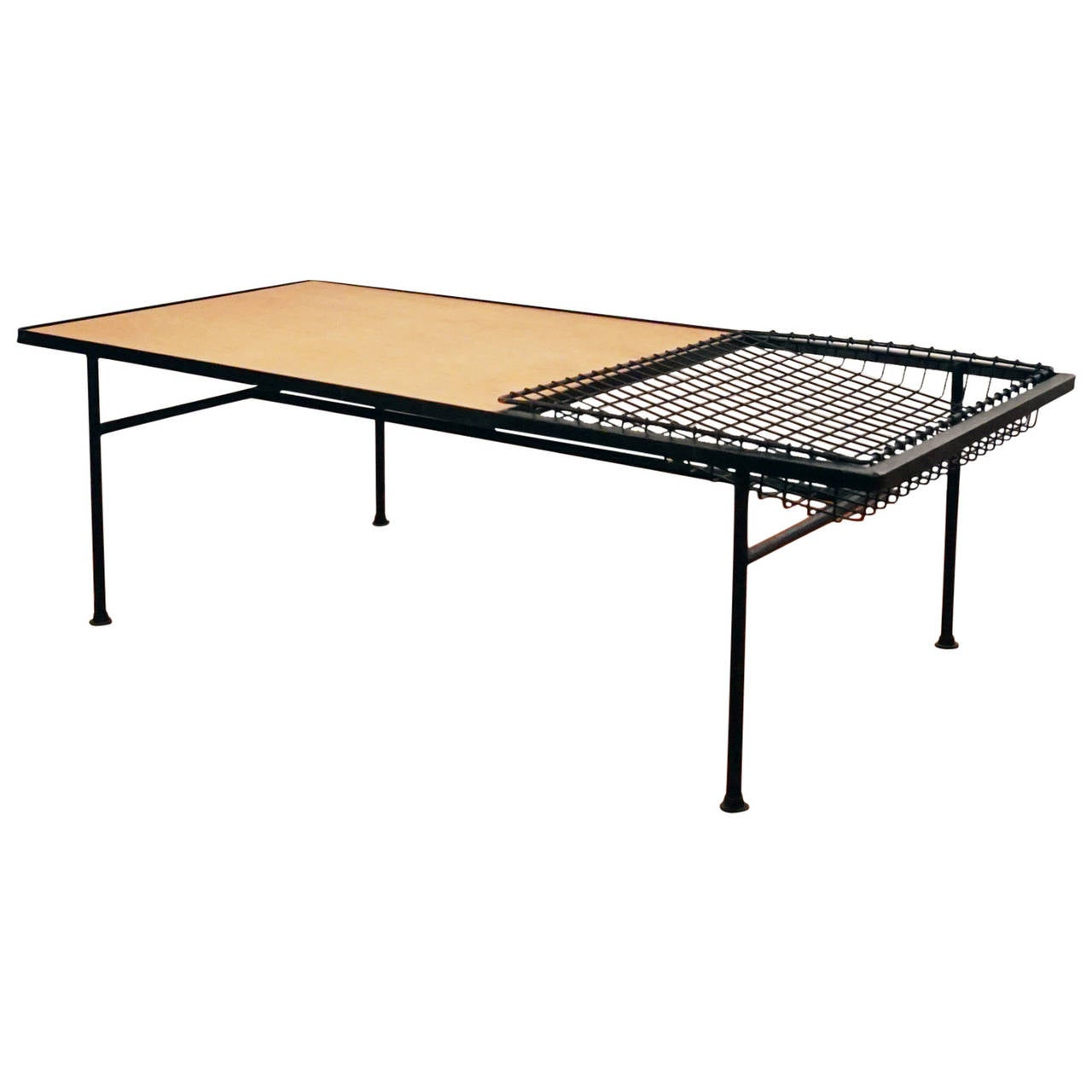 Wonderful image of 1950s Iron and Wood Coffee Table with Magazine Rack at 1stdibs with #A86E23 color and 1280x1280 pixels