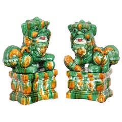 Pair of Mid-Century Chinese Porcelain Sancai Foo Dogs