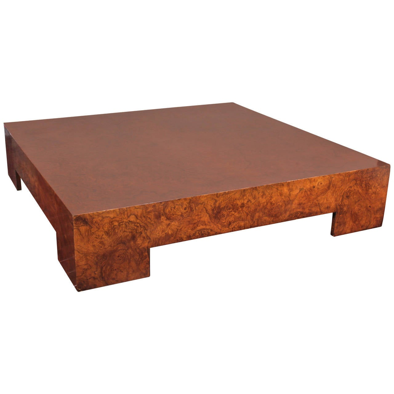 Milo baughman burl olivewood square low table at 1stdibs Low coffee table square