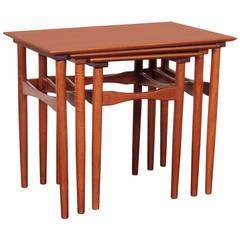 Set of Mid-Century Danish Teak Nesting Tables by Fabian