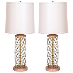 Pair of Mid-Century Modernist Cerused Oak and Brass Lamps