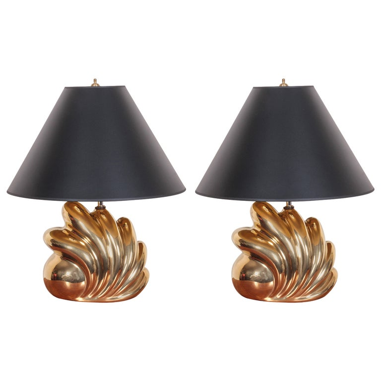 Pair of Decorative Gold Luster Shell Lamps For Sale
