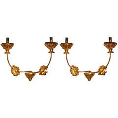 Pair of 18th Century Spanish Iron and Carved Gilded Wood Wall Sconces