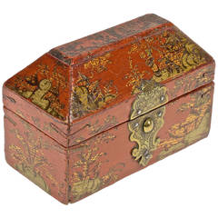 Red Lacquer, Gilt Bronze and Gold Chinoiserie French Perfume Nécessaire