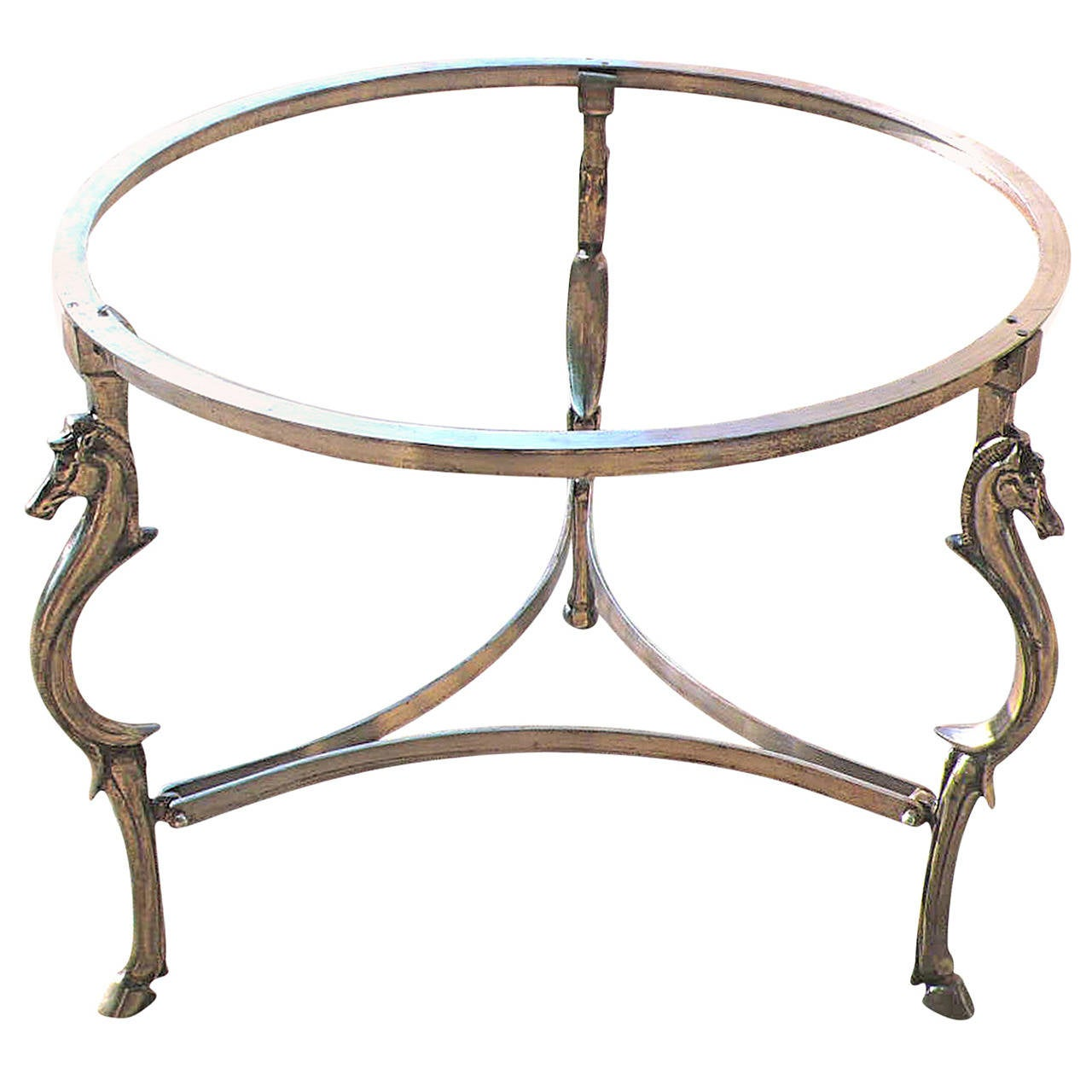 Cast Steel Center Table with Decorative Horse Heads, Attributed to Maison Jansen