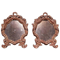 Pair of Carved and Gilded Wood Shield Shaped Mirrors