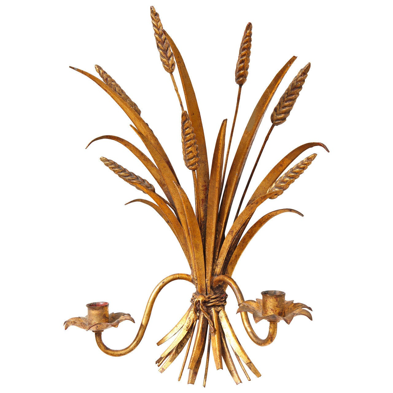 Italian 1960s Hollywood Regency Gilt Metal Sheaf of Wheat Wall Sconce For Sale