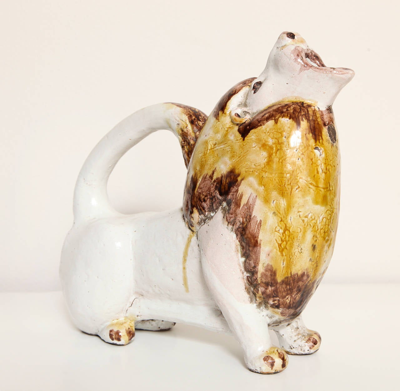 Polychrome Painted Italian 1960s Pottery Lion Form Pitcher In Excellent Condition In New York, NY