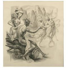 """""""Bachanal"""" Drawing by Mariano Andreu, Spain"""
