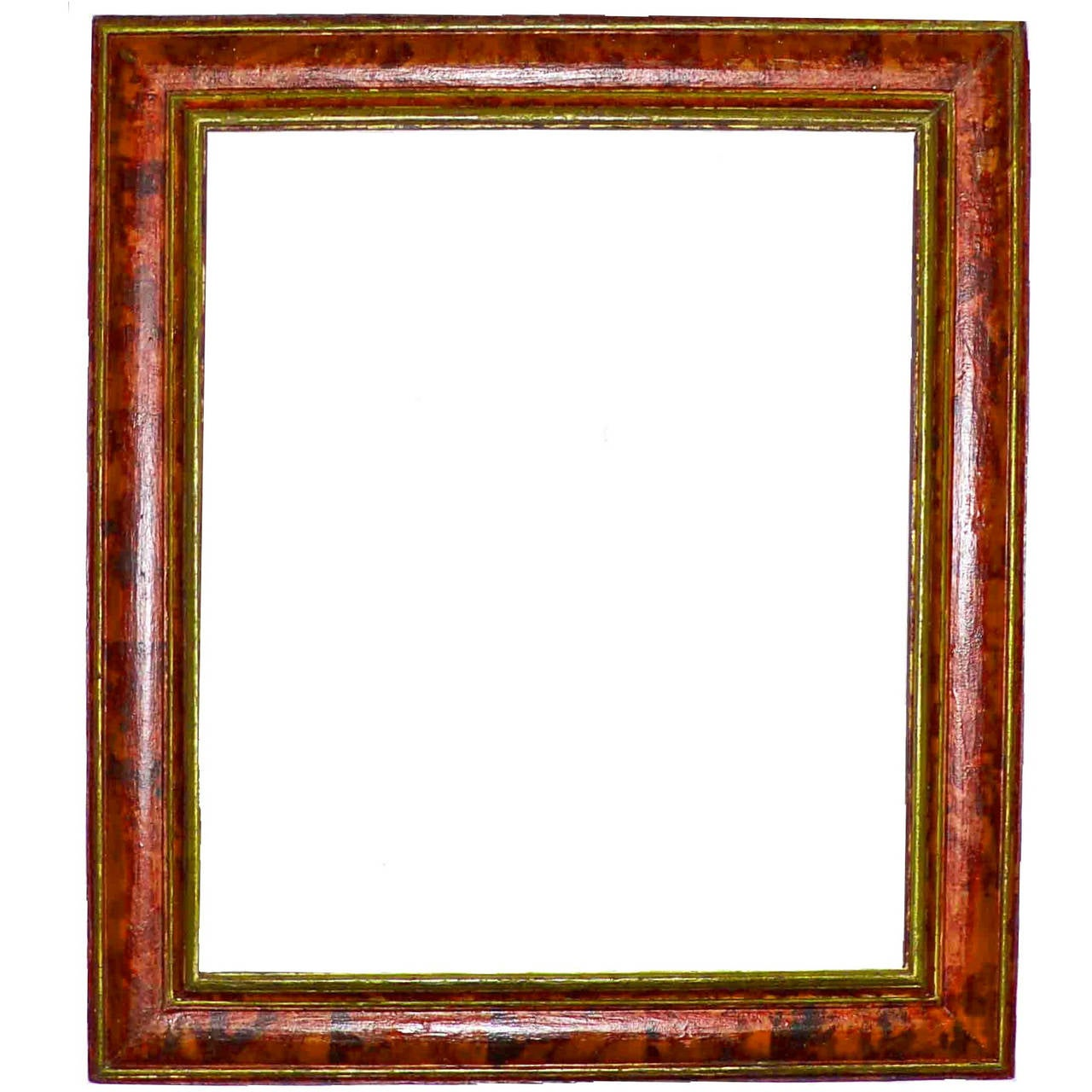 Spanish carved and faux tortoiseshell painted mirror frame for Mirror with mirror border