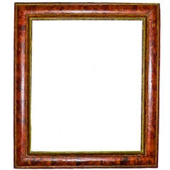 Spanish Carved and Faux Tortoiseshell Painted Mirror Frame