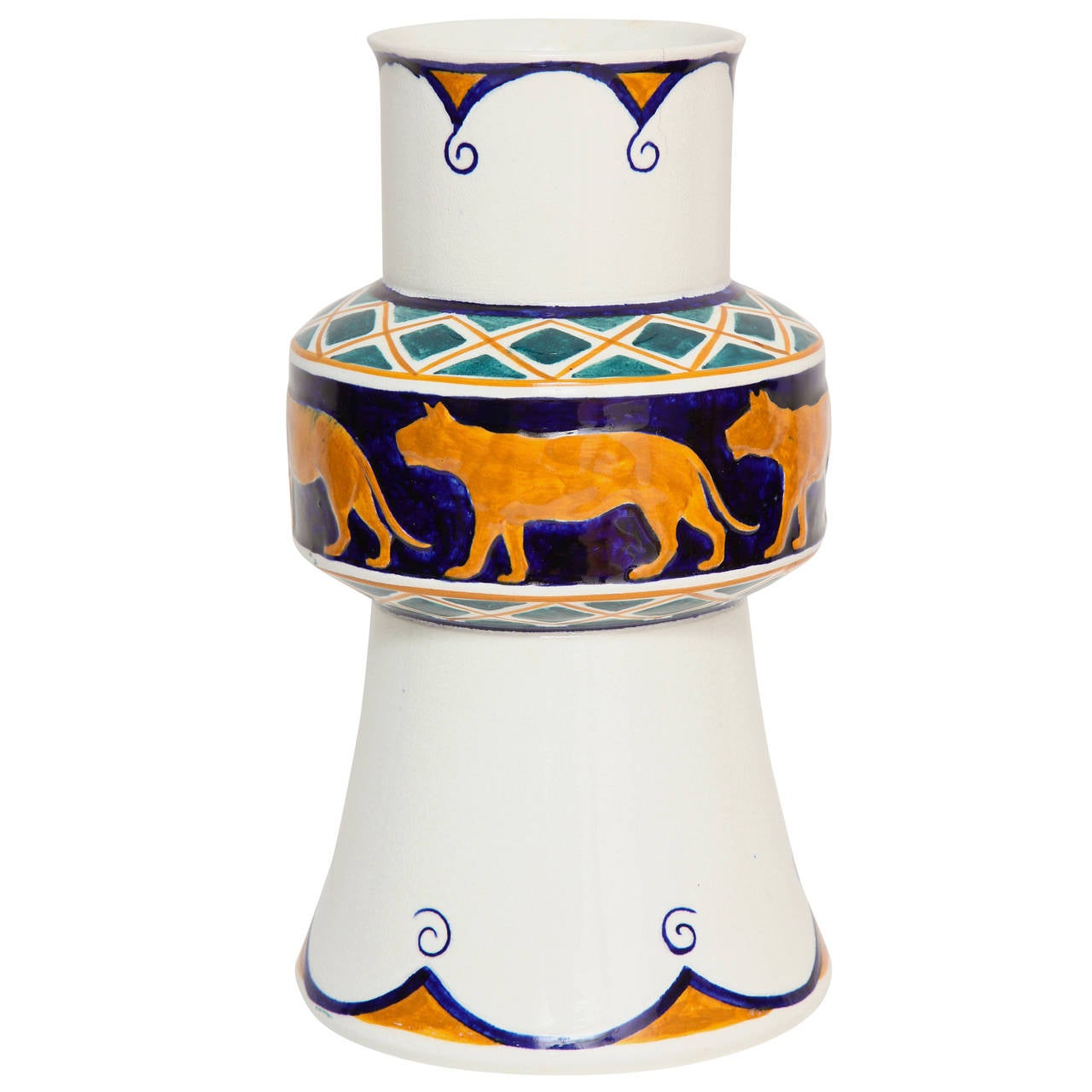 Alf Wallander Swedish Signed Vase with Wild Animal Motif for Rörstrand For Sale