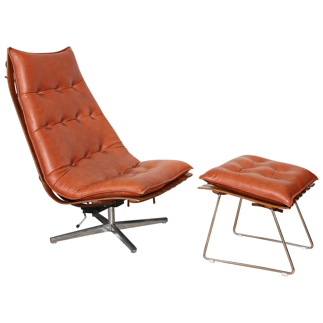 Hans Brattrud Rosewood 39 Scandia 39 Swivel Lounge Chair And Ottoman Hov