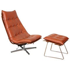 Hans Brattrud Rosewood 'Scandia' Swivel Lounge Chair and Ottoman, Hove Mobler