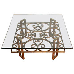 Gilded Wrought Iron Square Coffee Table with Scroll Motif Glass Top