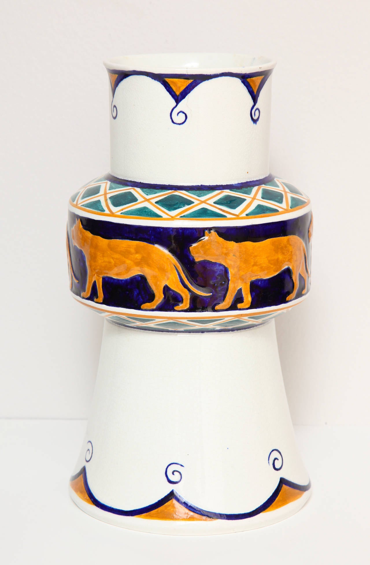 Glazed Alf Wallander Swedish Signed Vase with Wild Animal Motif for Rörstrand For Sale