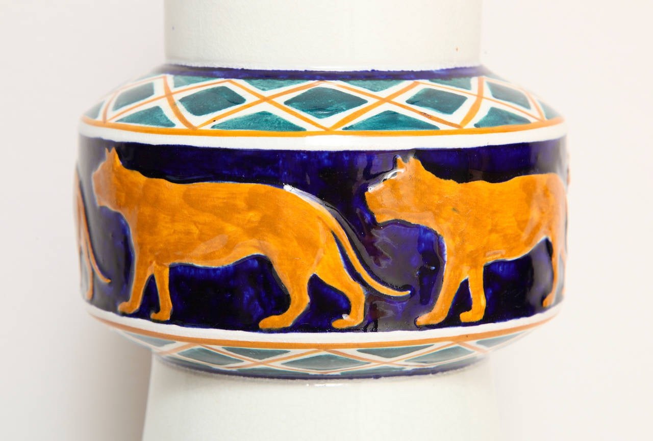 Early 20th Century Alf Wallander Swedish Signed Vase with Wild Animal Motif for Rörstrand For Sale