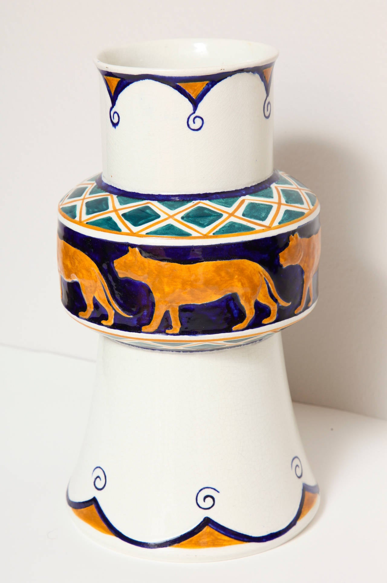 Alf Wallander Swedish Signed Vase with Wild Animal Motif for Rörstrand In Excellent Condition For Sale In New York, NY
