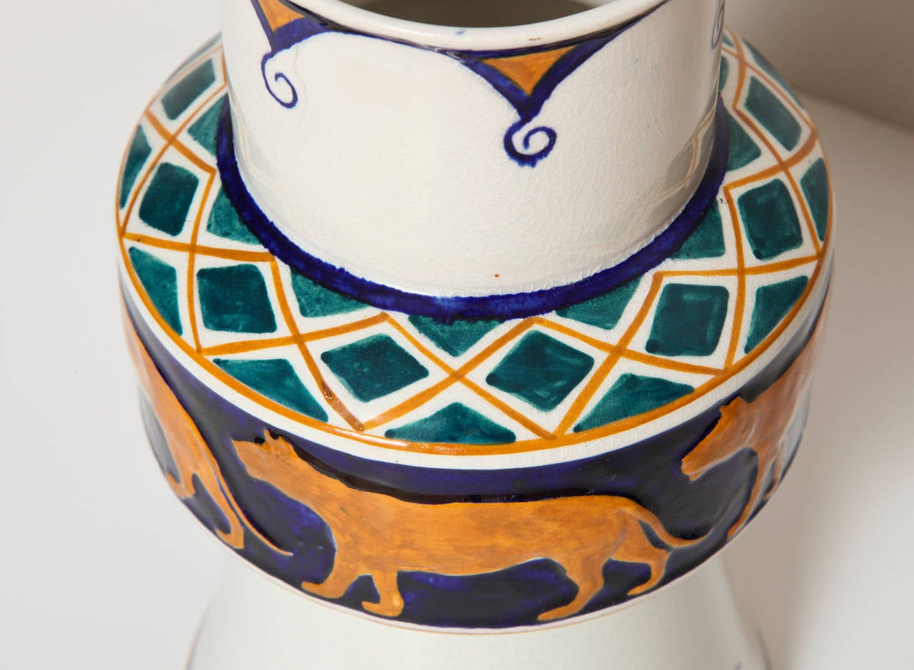 Alf Wallander Swedish Signed Vase with Wild Animal Motif for Rörstrand For Sale 1