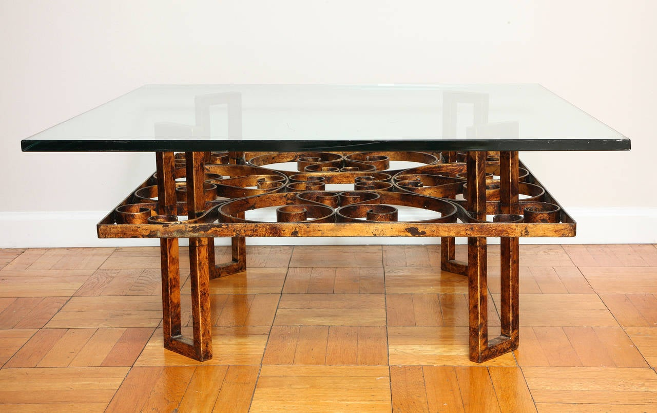 Gilded wrought iron square coffee table with scroll motif for Wrought iron and glass table