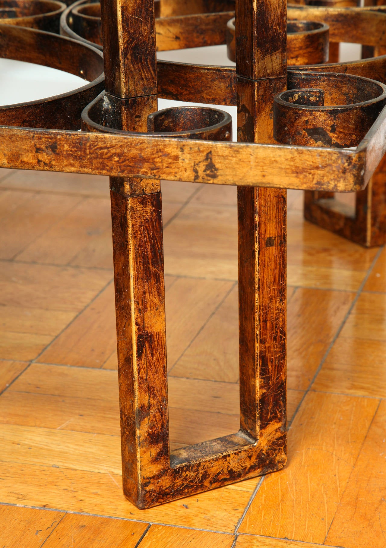 Gilded Wrought Iron Square Coffee Table With Scroll Motif