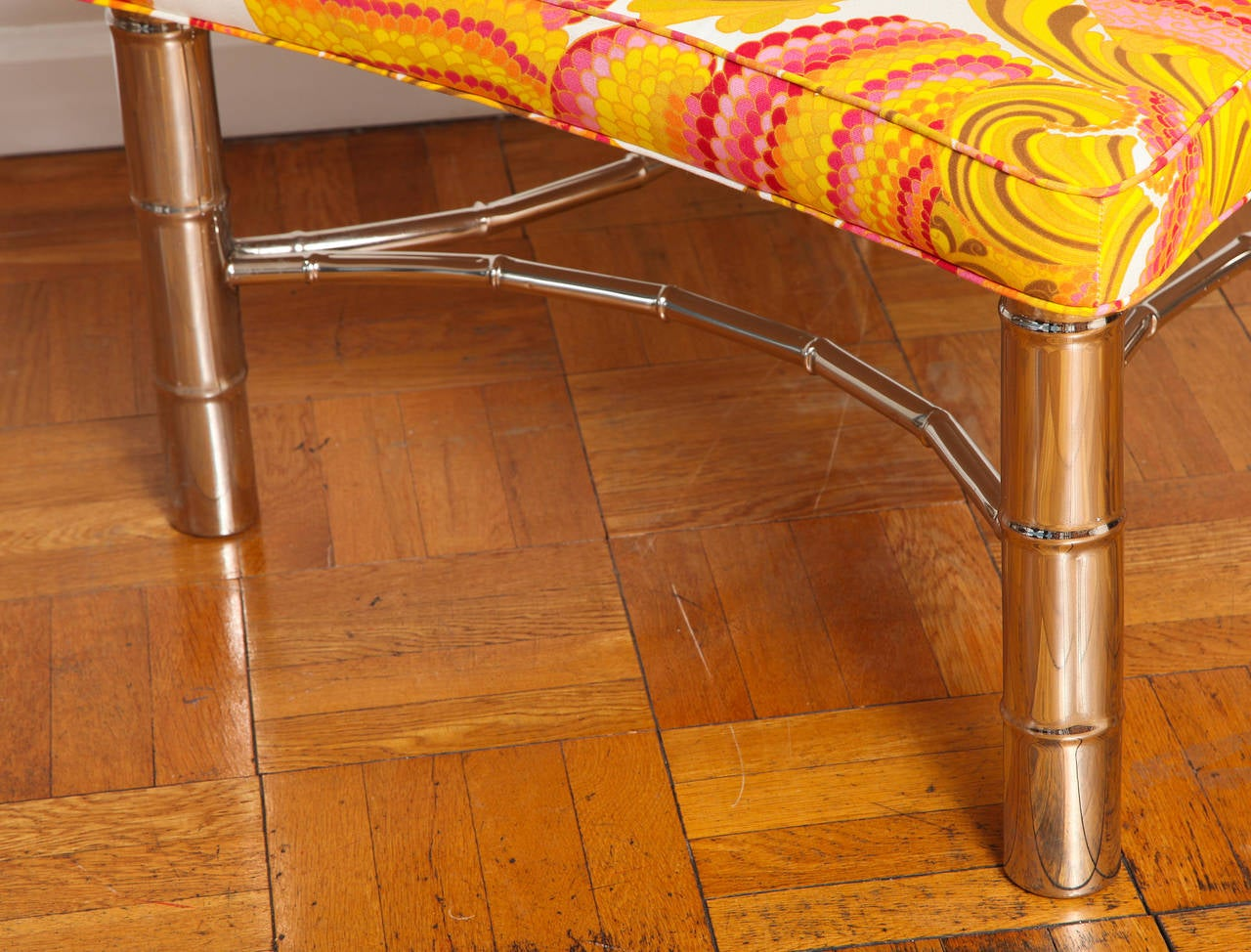Faux Bamboo Ottoman With Chrome Legs And Stretcher In