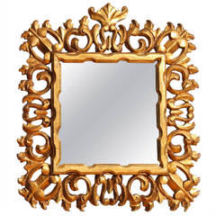 Carved and Gilded Italian Baroque Style Mirror Frame